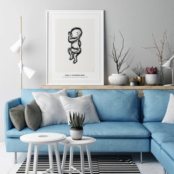 Birth poster in 1:1 scale with the illustration sketch in black color with beige background in a beautiful living room