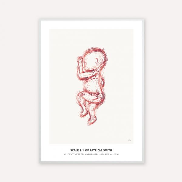 Birth poster in 1:1 scale with the illustration sketch in rose color with beige background
