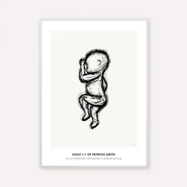 Birth poster in 1:1 scale with the illustration sketch in black color with beige background